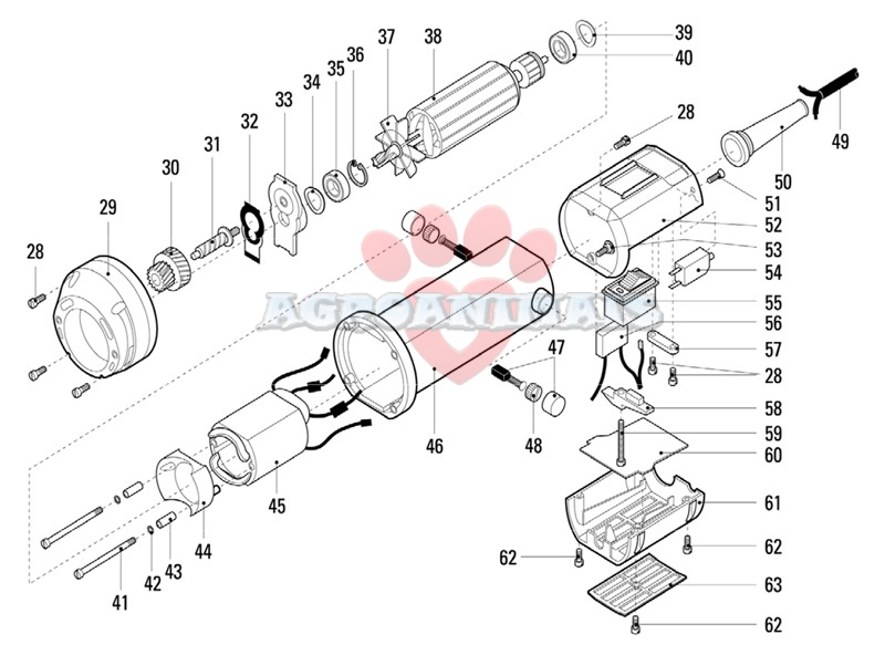 Esquiladora heineger X tra despiece cuerpo motor piezas